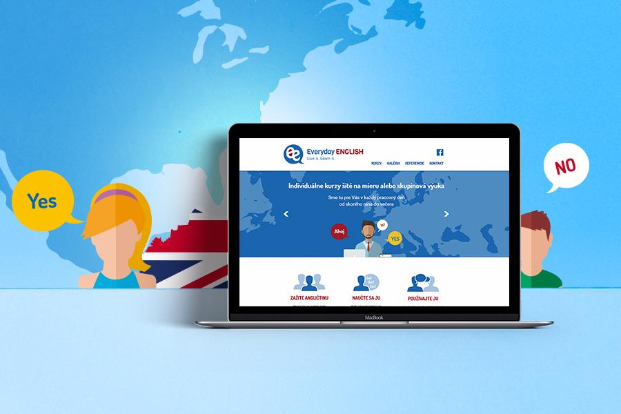 EverydayEnglish - jazykova skola nitra- novy responzivny webdizajn zobrazenie - notebook - autorske obrazky graficke studio AnimaGraf
