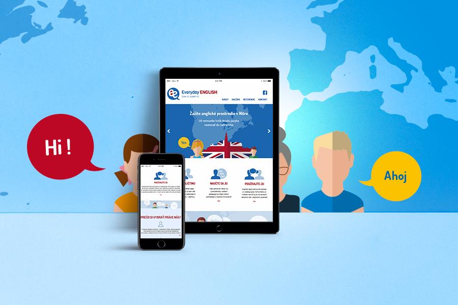 EverydayEnglish - jazykova skola nitra- novy responzivny webdizajn zobrazenie tablet - mobil - autorske obrazky graficke studio AnimaGraf